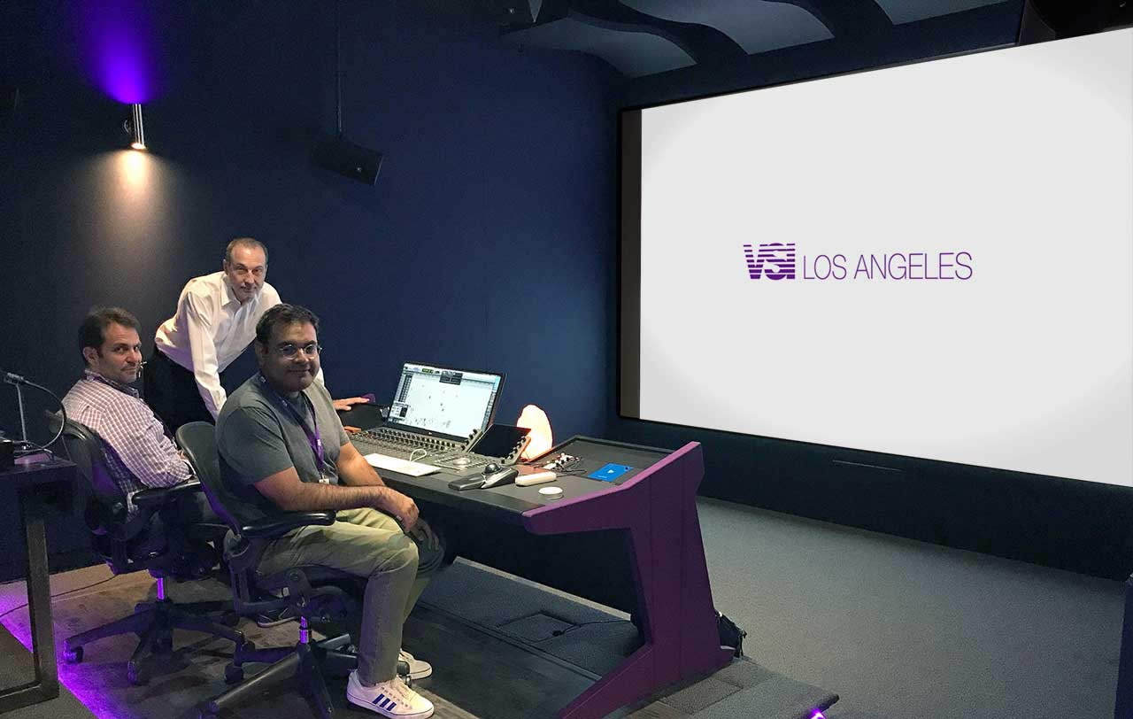 Voice Script International in Los Angeles with Alex Weiser, VSI General Manager; Jim Pace, President of Audio Intervisual Design, and Oscar Garcia, VSI Staff Audio Engineer