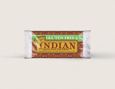 Indian Aloo Mattar Wrap, Gluten free