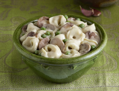 Tortellini with Mushrooms & Peas in Cream Sauce - Meals for Two