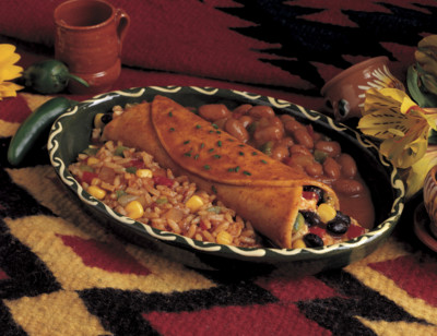 Enchilada with Spanish Rice & Beans Meal