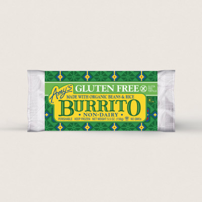 Bean & Rice Burrito, Gluten Free, Non-Dairy