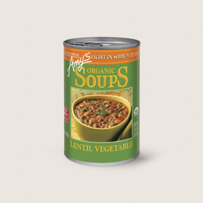 Organic Lentil Vegetable Soup, Light in Sodium