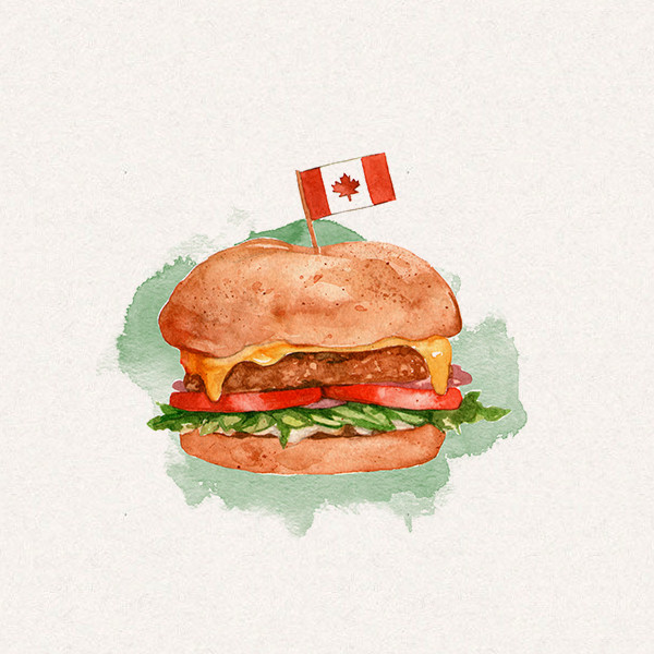 Amy's burger with Canada flag