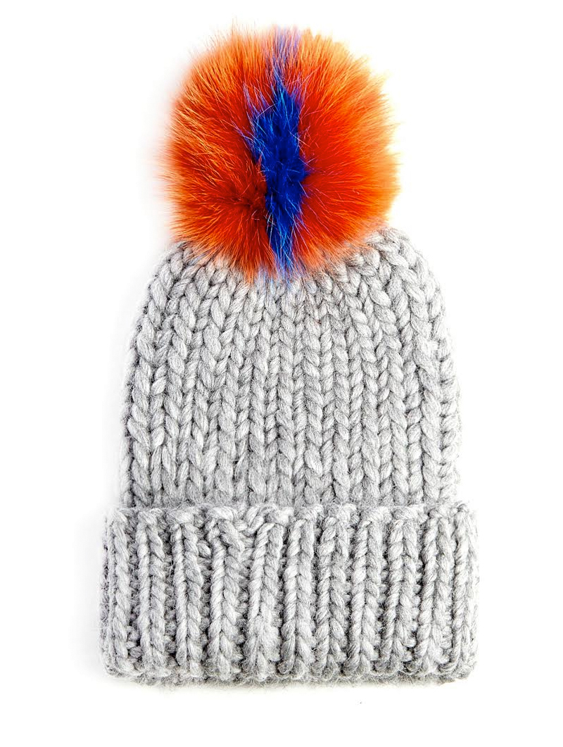 6704f51b92d Rain Light Gray Beanie with Orange   Indigo Pom - Eugenia Kim ...