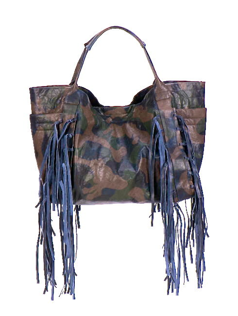 Christiansen Blue Green Camo Fringe Bag