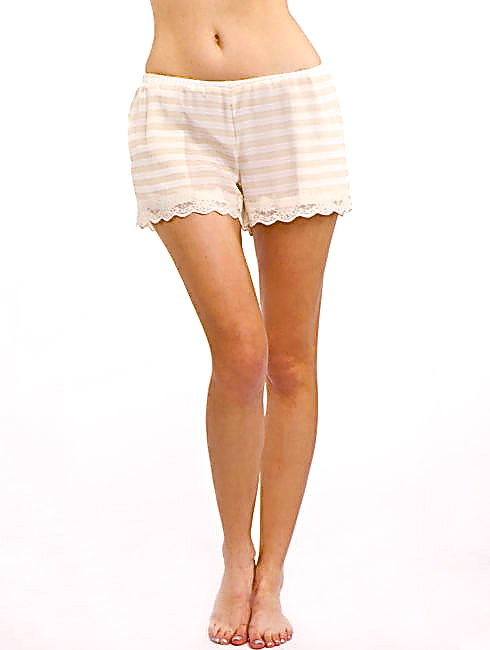 FRENCH VANILLA STRIPED SILK SHORTS