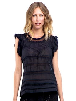 Summer Breeze Black Linen Ruffed Top