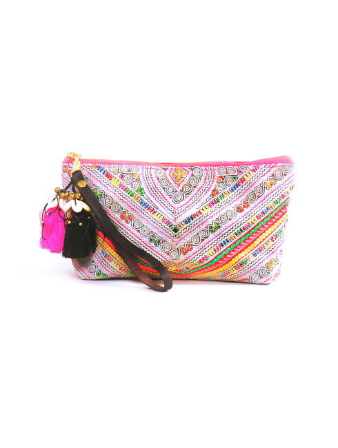 Panada Neon Pink Embroidered Wrist Clutch - AMLA