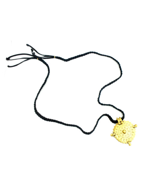 GOLD MEDALLION & BRAIDED BLACK LEATHER NECKLACE BY FRASIER STERLING COUTURE -IS A BOHO CHIC LUXURY NECKLACE . GOLD MEDALLION & BRAIDED BLACK LEATHER NECKLACE