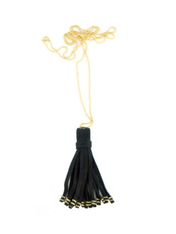 Fraiser Sterling Gold Ball Chain & Black Leather Tassel Necklace