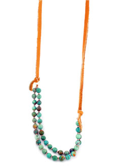 Lilly Lambert D Turquoise and Leather Necklace