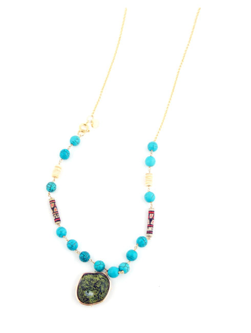 Turquoise Peruvian Bead Maui Necklace
