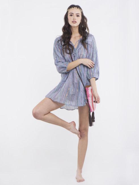 Blue Gray Short Hippie Dress