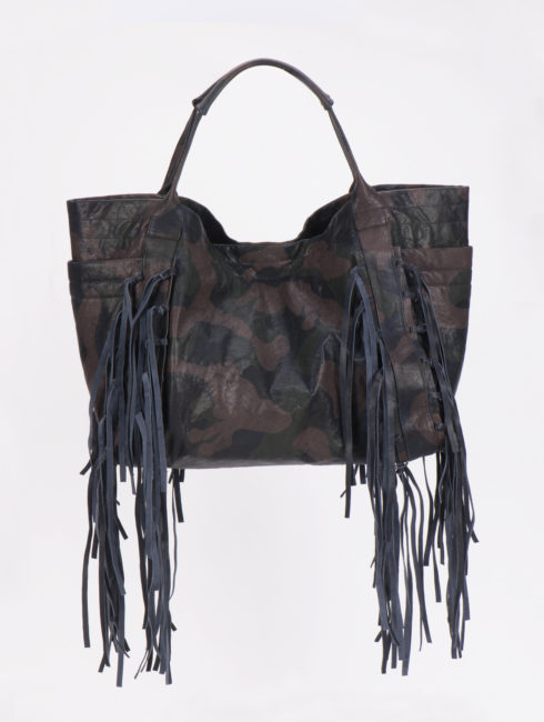 Christiansen Blue Camo Fringe Bag