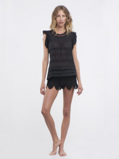 Letarte Black Crochet Shorts