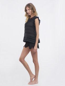 Letarte Black Crochet Shorts