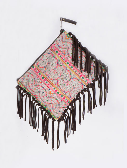 Jade Tribe White Panada Suede Fringe Clutch