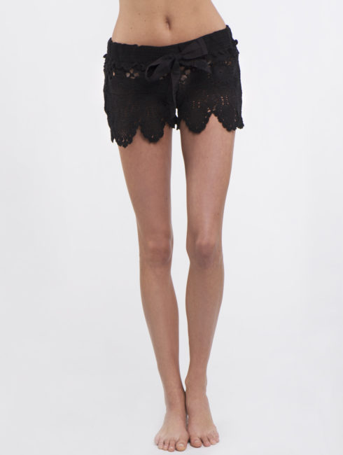 Letart Black Crochet Shorts