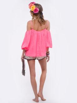 Love Sam Electric Pink Marielli Cold Shoulder Top