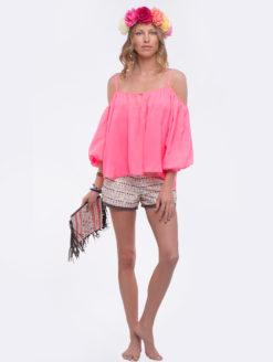 Love Sam Pink Marielli Cold Shoulder Top