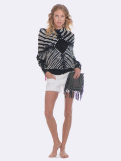 Panada Wrap Tie Dye Sweater - Navy Black White- V1