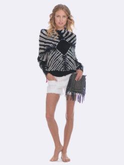 Panada Wrap Tie Dye Sweater - Navy Black White- V1