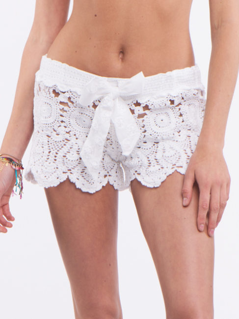 Letart White Crochet Shorts
