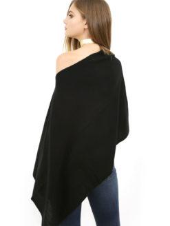 Cashmere Ruana Wrap - Black
