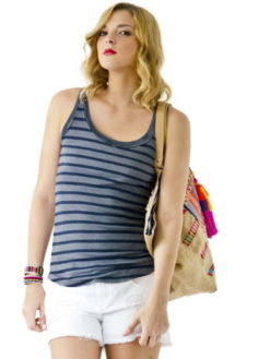 Stripe Thermal Racerback Tank - Charcoal - Stateside