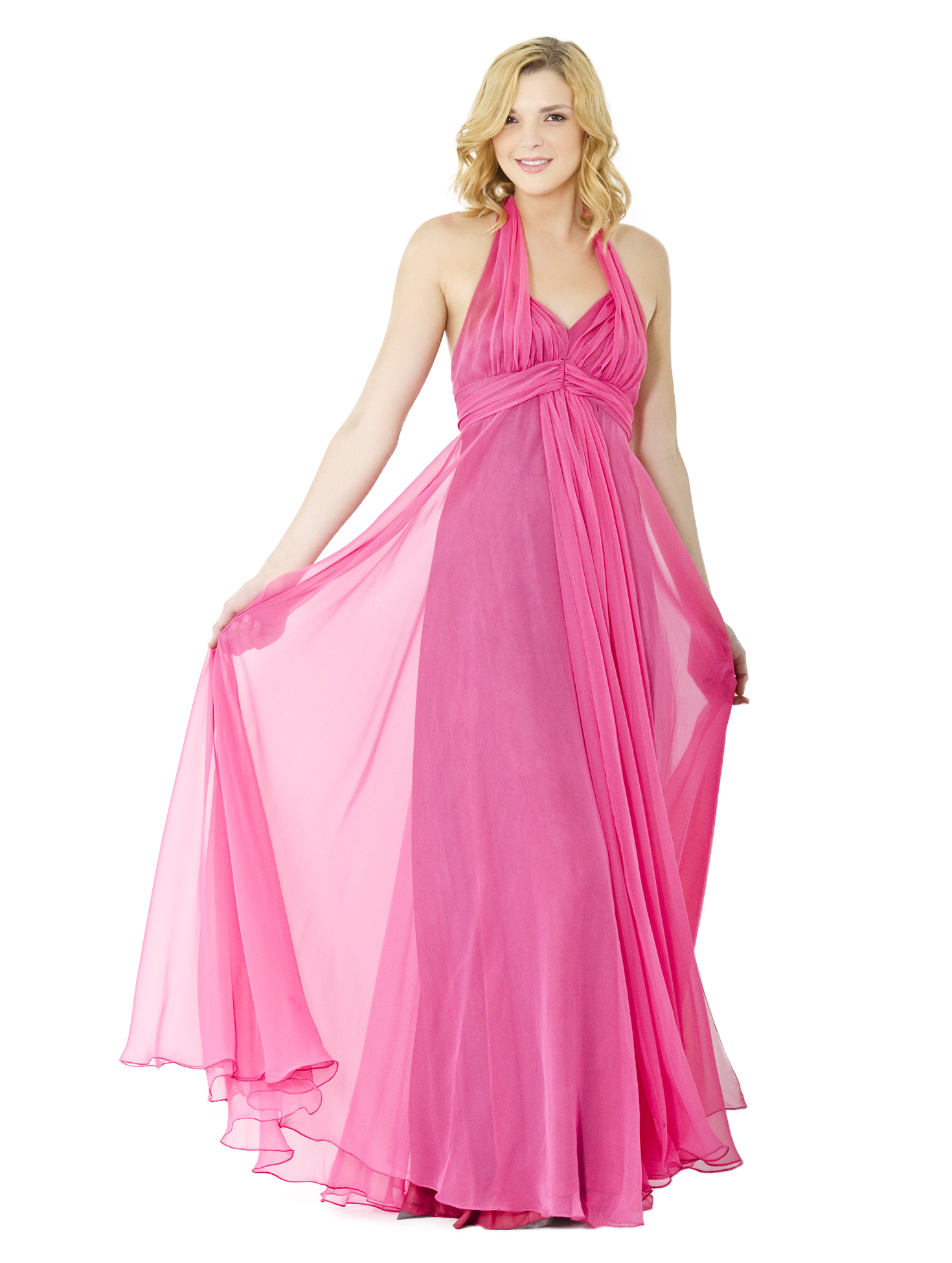 Vintage Halston 1970\'s Pink Halter Gown - Size USA 4 | AmandaMills