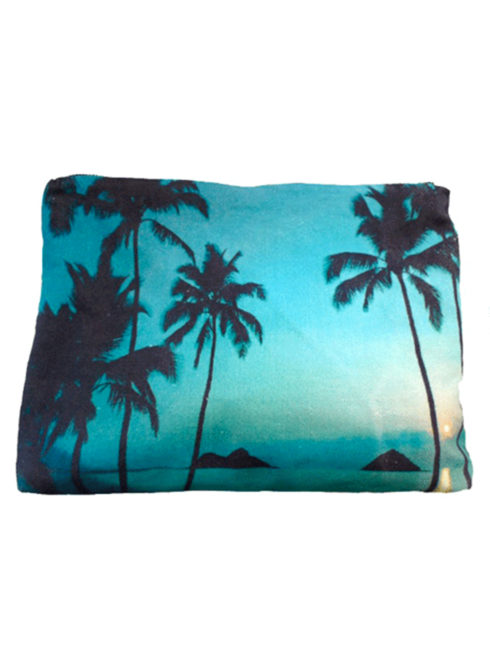 Mokulua Pouch - Samudra-This pouch features a lovely image of three palm trees along a sunset kissed beach. The blue hues make us dream of summer days and summer nights. Perfect resort travel accessory or a place to put makeup essentials, this piece makes a perfect gift to give or get. Mokulua Pouch Blue Palms - Samudra