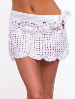 Letarte White Crochet Skirt