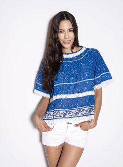 Love Sam Dawn Pintuck Blue Top