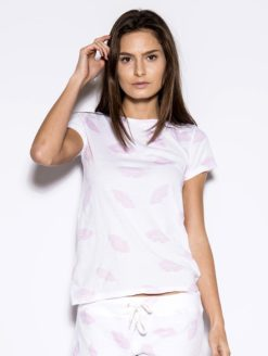 Pink Lip Crew Neck White Kissable Tee- monrow