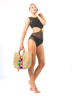 Mandalynn Brandi Black Mesh Monokini - shop amla