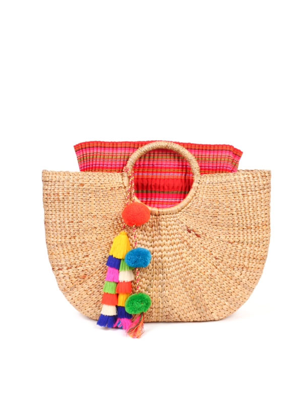 JADEtribe Large Beach Basket Multi/Pink | AmandaMills