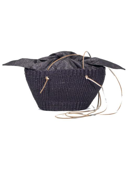 Muun Mini Cole Shine Black Straw Bag