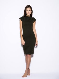 blaque-label-cap-sleeve-olive-dress-front
