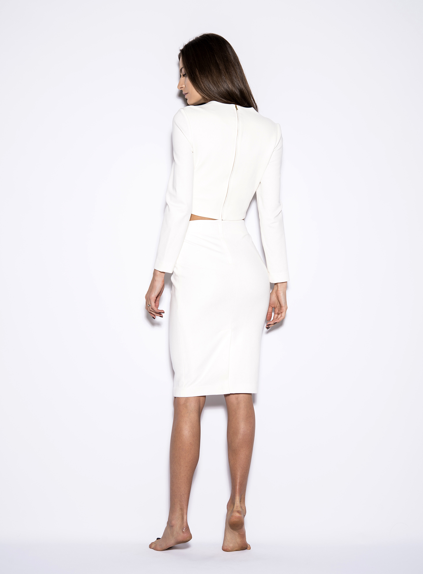 High Waist Long White Ladies Pencil Skirt | AmandaMills