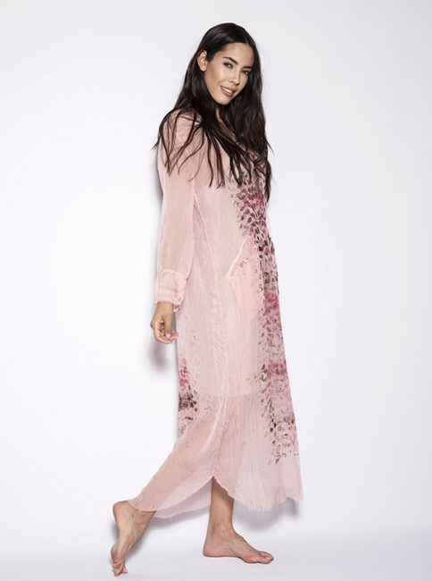 Chiffon Coral Pink Silk Long Tunic Dress