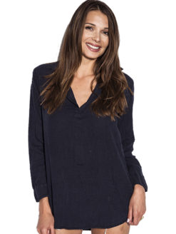 American Colors Navy Linen Pullover