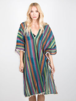 Green Multicolored Delsie Kaftan