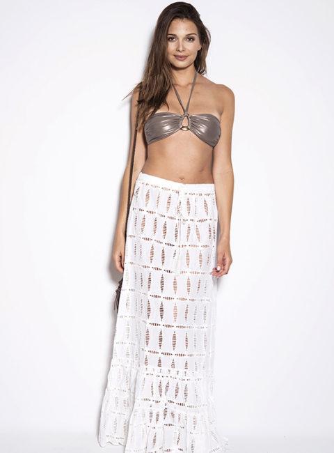 Babajaan White Mesh Maxi Skirt