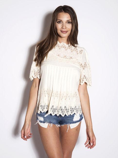 Love Sam Ivory Layla Crochet Top