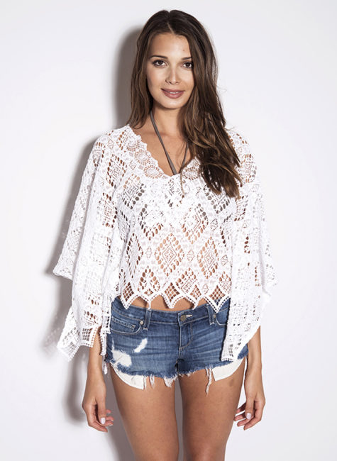Temptation Positano White Crochet Corona Caftan Top