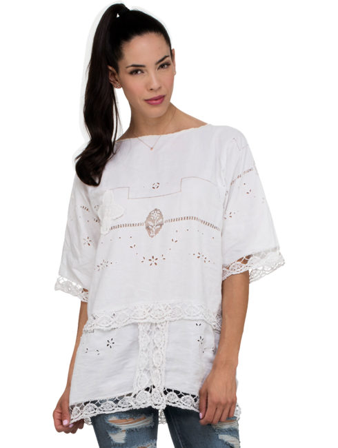 Smock LPlace Nationale Smock Kaftan Top Longong Kaftan Top - White - Place Nationale - AMLA