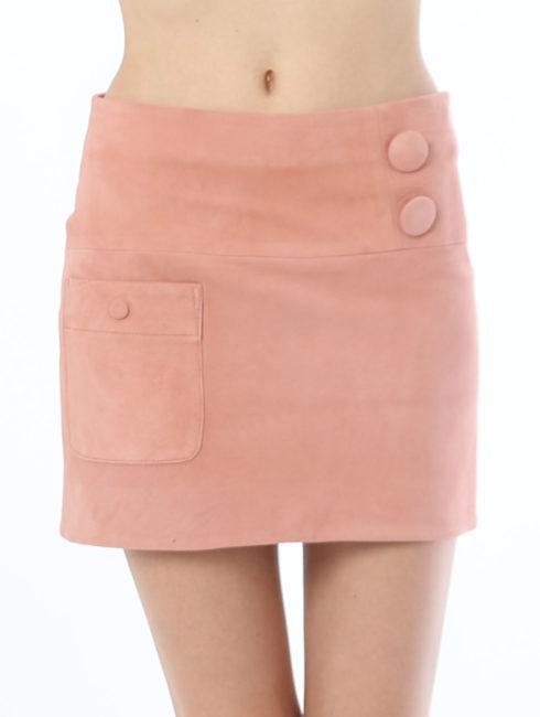 Soonil - Suede Mini Skirt - Pink - Amanda Mills LA