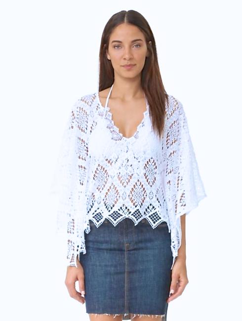 Temptation Positano White Crochet Corona Kaftan Top - amla