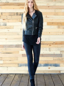 Clapton Crop Black Leather Moto Jacket