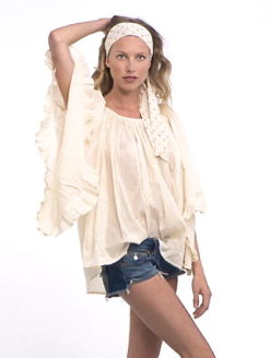 Gold Striped Ivory Cotton Gypsy Ruffle Blouse